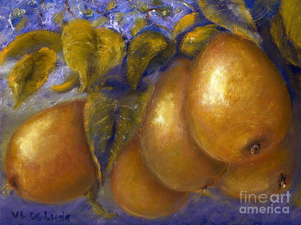 Fine Art Golden Pears With Blue And Green Art Print