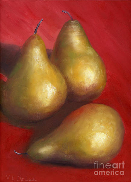 Fine Art Hand Painted Golden Pears Red Background Art Print by Lenora  De Lude
