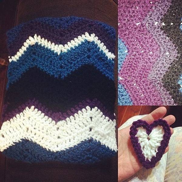Photograph - Finished My Chevron Cowl Just In Time by Mary Wilkinson