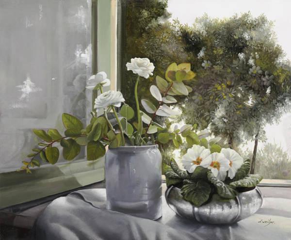 Window Painting - Fiori Bianchi Alla Finestra by Guido Borelli