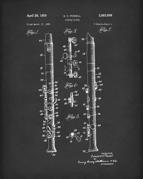 Drawing - Fipple Flute 1959 Patent Art Black by Prior Art Design