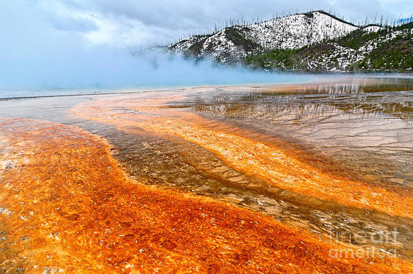 Lava Lakes Photograph - Fire And Ice - Grand Prismatic Spring On A Cloudy Day. by Jamie Pham