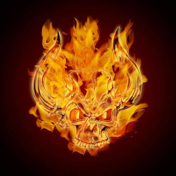 Steaks Digital Art - Fire Burning Flaming Skull With Horns by Jit Lim