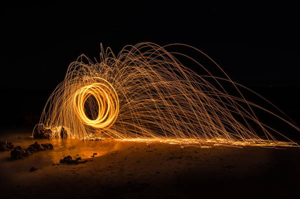 Steel Wool Photograph - Fire Circle by Tin Lung Chao