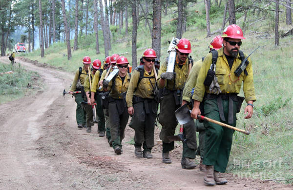Fire Crew Walks To Their Assignment On Myrtle Fire Art Print