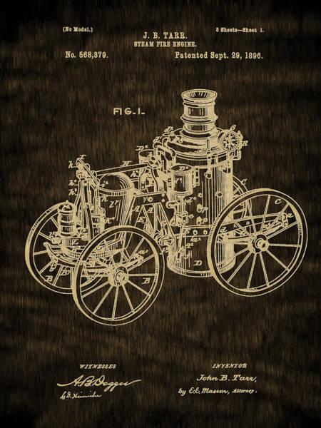 Digital Art - Fire Equipment - 1896 Steam Fire Engine Patent by Barry Jones