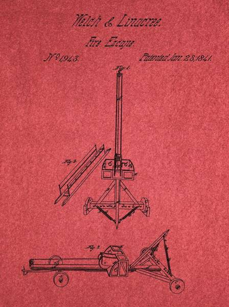 Mixed Media - Fire Escape Patent Red by Dan Sproul