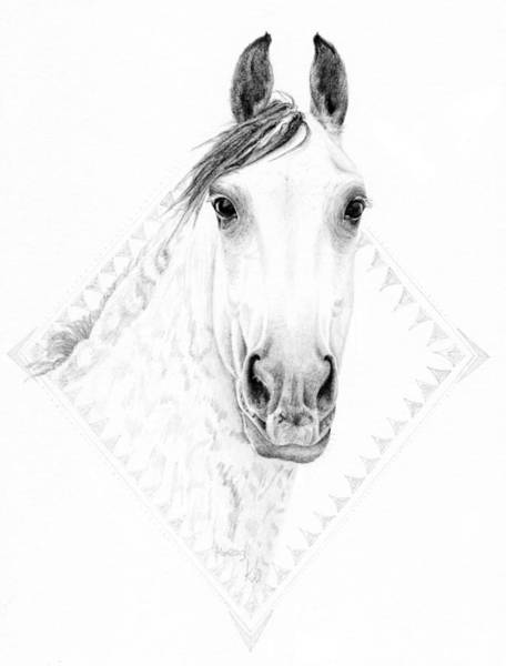 Friesian Drawing - Fire Horse by Karen  Wegehenkel