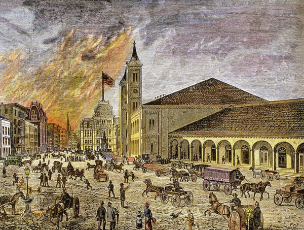 Stagecoach Photograph - Fire In The City Of Providence In 1886 by Prisma Archivo