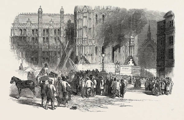Wall Art - Drawing - Fire In The Clock Tower Of The New Houses Of Parliament by English School