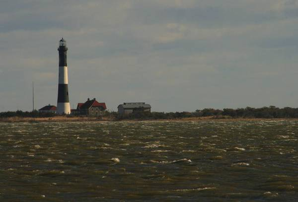 Photograph - Fire Island Light Across Choppy Inlet by Christopher Kirby