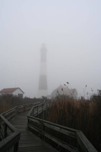 Fire Island Lighthouse In Fog Art Print