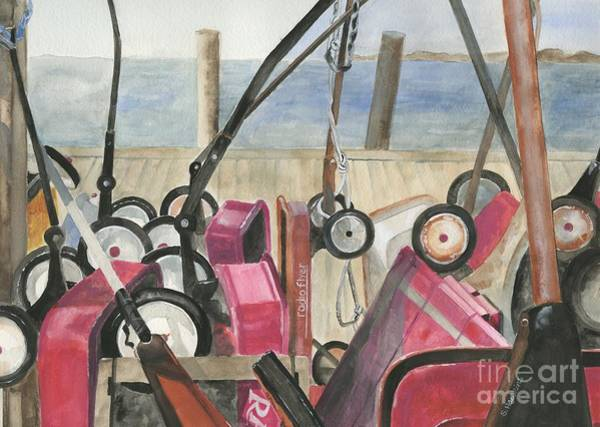 Wall Art - Painting - Fire Island Wagon Parking by Sheryl Heatherly Hawkins