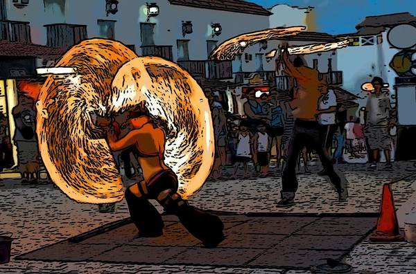Juggler Photograph - Fire Jugglers by Galexa Ch