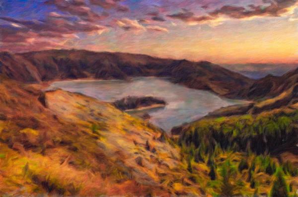 Digital Art - Fire Lake At Sunset by Eduardo Tavares