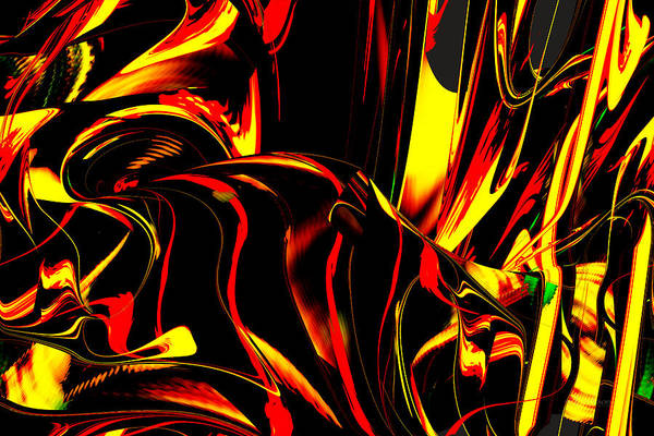 Digital Art - Fire On The Mountain - Digital Abstract by rd Erickson