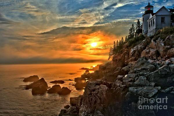 Photograph - Fire Over Bass Harbor by Adam Jewell