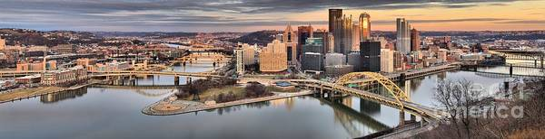Photograph - Fire Over The Pittsburgh Skyline by Adam Jewell