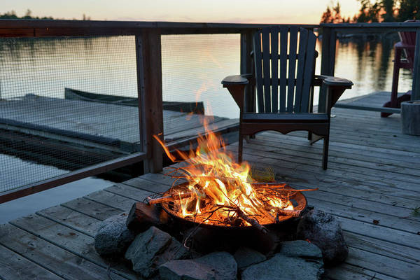 Patio Photograph - Fire Pit On A Wooden Dock On A Lake At by Keith Levit / Design Pics