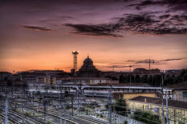 Railway Station Photograph - Fire Sky Over Bologna by Tommaso Di Donato