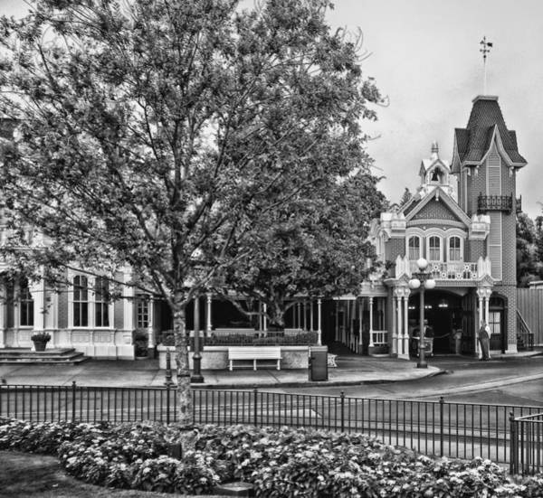 Wall Art - Photograph - Fire Station Main Street In Black And White Walt Disney World by Thomas Woolworth