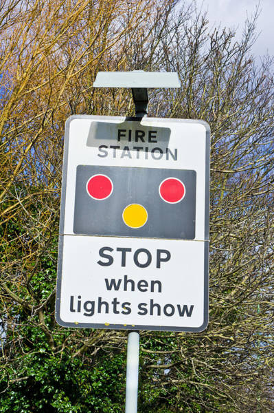 Stop Light Photograph - Fire Station Sign by Tom Gowanlock