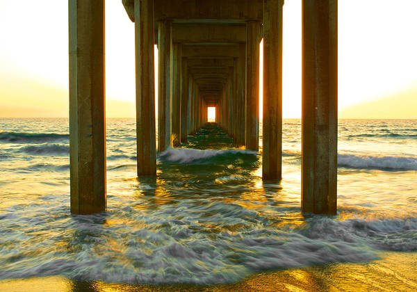 Scripps Pier Photograph - Scripps Pier Fire Sunset by Dean Mayo