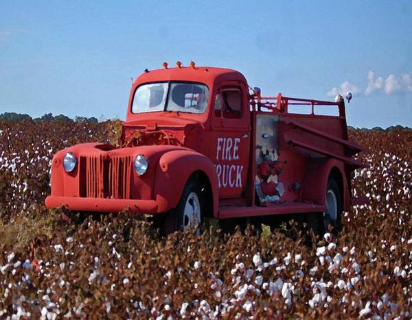 Pick Up Truck Digital Art - Fire Truck In The Cotton Field by Michael Thomas