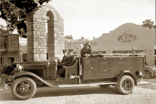 Photograph - Fire Truck No. 3 In Front Of World War One Memorial On Ocean Ave. Circa 1932 by California Views Archives Mr Pat Hathaway Archives