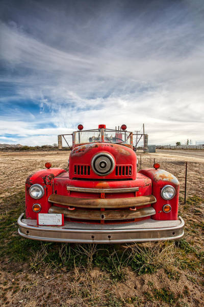 Big Sky Photograph - Fire Truck by Peter Tellone