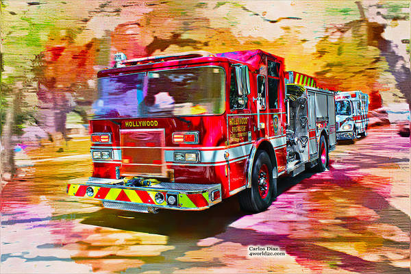 Photograph - Hollywood Fire Truck Series 02 by Carlos Diaz