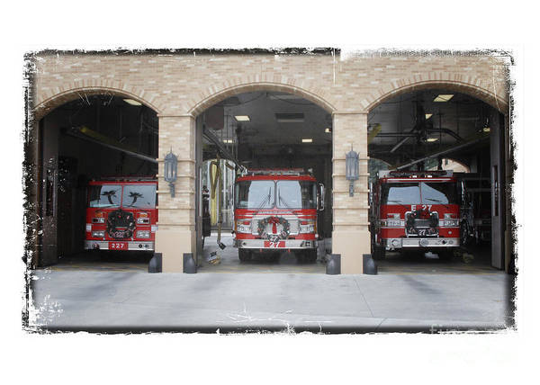 Wall Art - Photograph - Fire Trucks At The Lafd Fire Station Are Decorated For Christmas by Nina Prommer