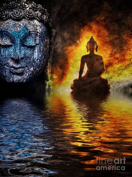 Elemental Photograph - Fire Water Buddha by Tim Gainey