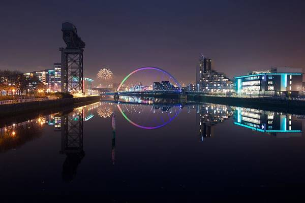 Fire Works Night Glasgow Art Print