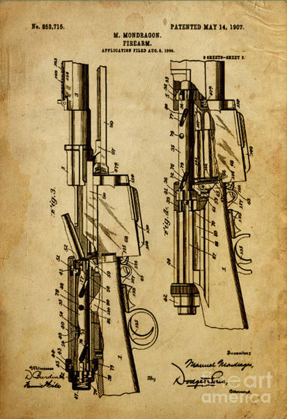 Patent Mixed Media - Firearm - Patented On 1907 by Drawspots Illustrations