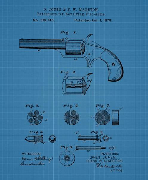 Shooting Mixed Media - Firearm Extractor Blueprint Patent by Dan Sproul