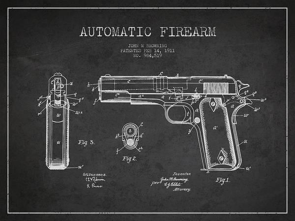 Weapons Digital Art - Firearm Patent Drawing From 1911 - Dark by Aged Pixel