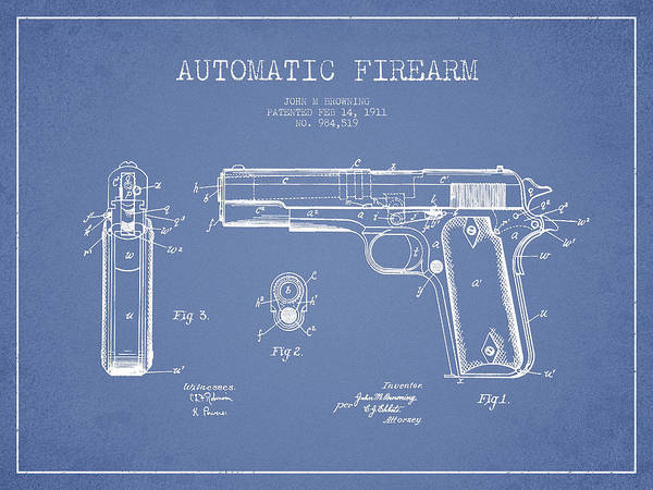 Shooting Digital Art - Firearm Patent Drawing From 1911 - Light Blue by Aged Pixel