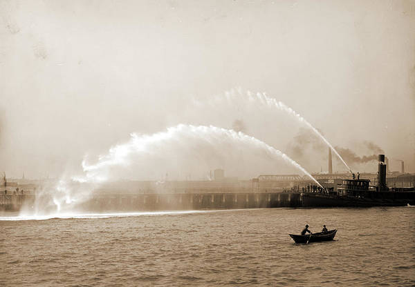 Fireboat Wall Art - Drawing - Fireboat 44 In Action, Boston, Mass, Fireboats, Waterfronts by Litz Collection