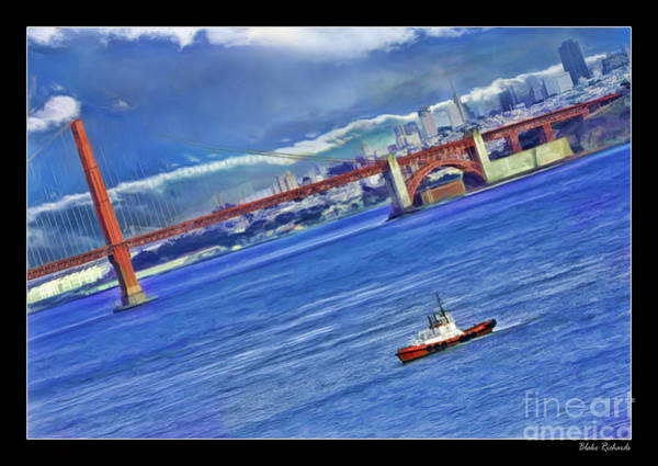 Photograph - Fireboat And The Goldon Gate Bridge by Blake Richards