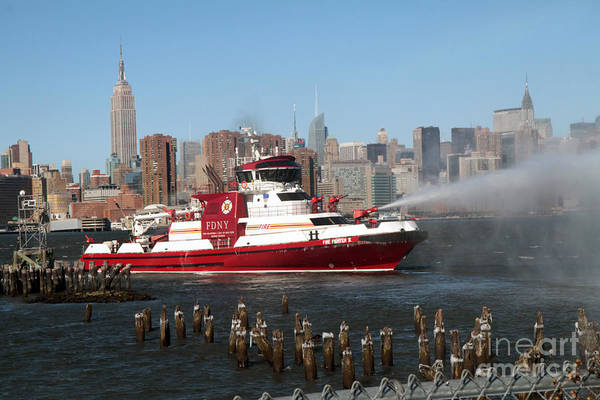 Photograph - Fireboat In Action At 7 Alarm Fire by Steven Spak