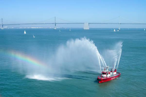 Fireboat Wall Art - Photograph - Fireboat Salute by John M Bailey