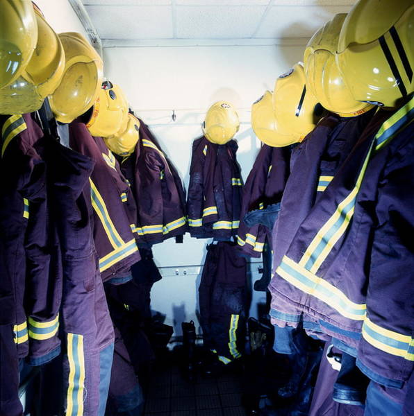 Wall Art - Photograph - Firefighters' Cloakroom by Simon Lewis/science Photo Library