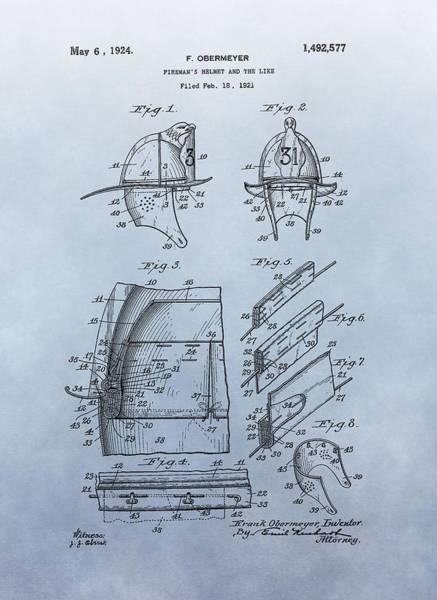 Digital Art - Firefighter's Helmet Patent by Dan Sproul