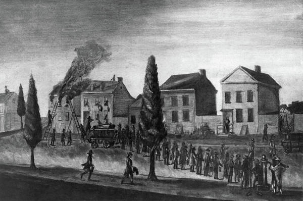 Brigade Drawing - Firefighting, 1809 by Granger