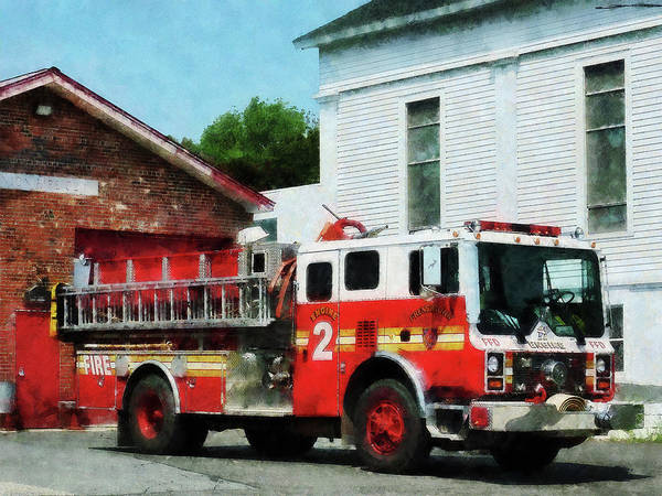 Photograph - Fireman - Fire Engine In Front Of Fire Station by Susan Savad