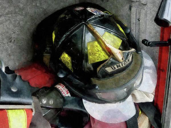 Photograph - Fireman - Fire Fighter's Helmet Closeup by Susan Savad