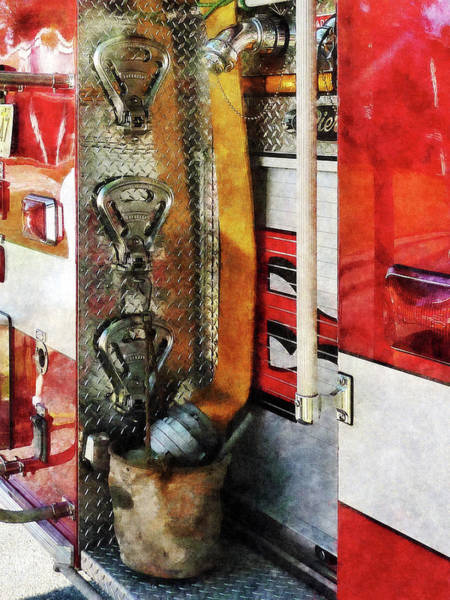 Photograph - Fireman - Fire Hose Bucket And Nozzle by Susan Savad