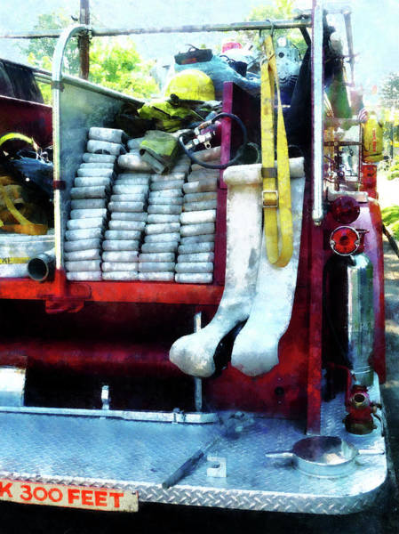 Photograph - Fireman - Hoses On Fire Truck by Susan Savad