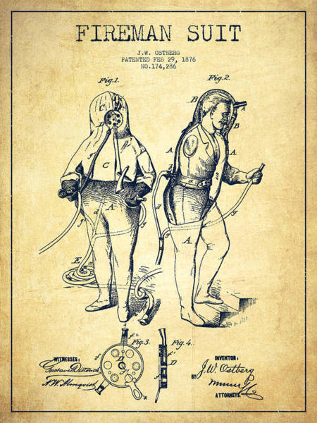 Fireman Wall Art - Digital Art - Fireman Suit Patent Drawing From 1826 - Vintage by Aged Pixel